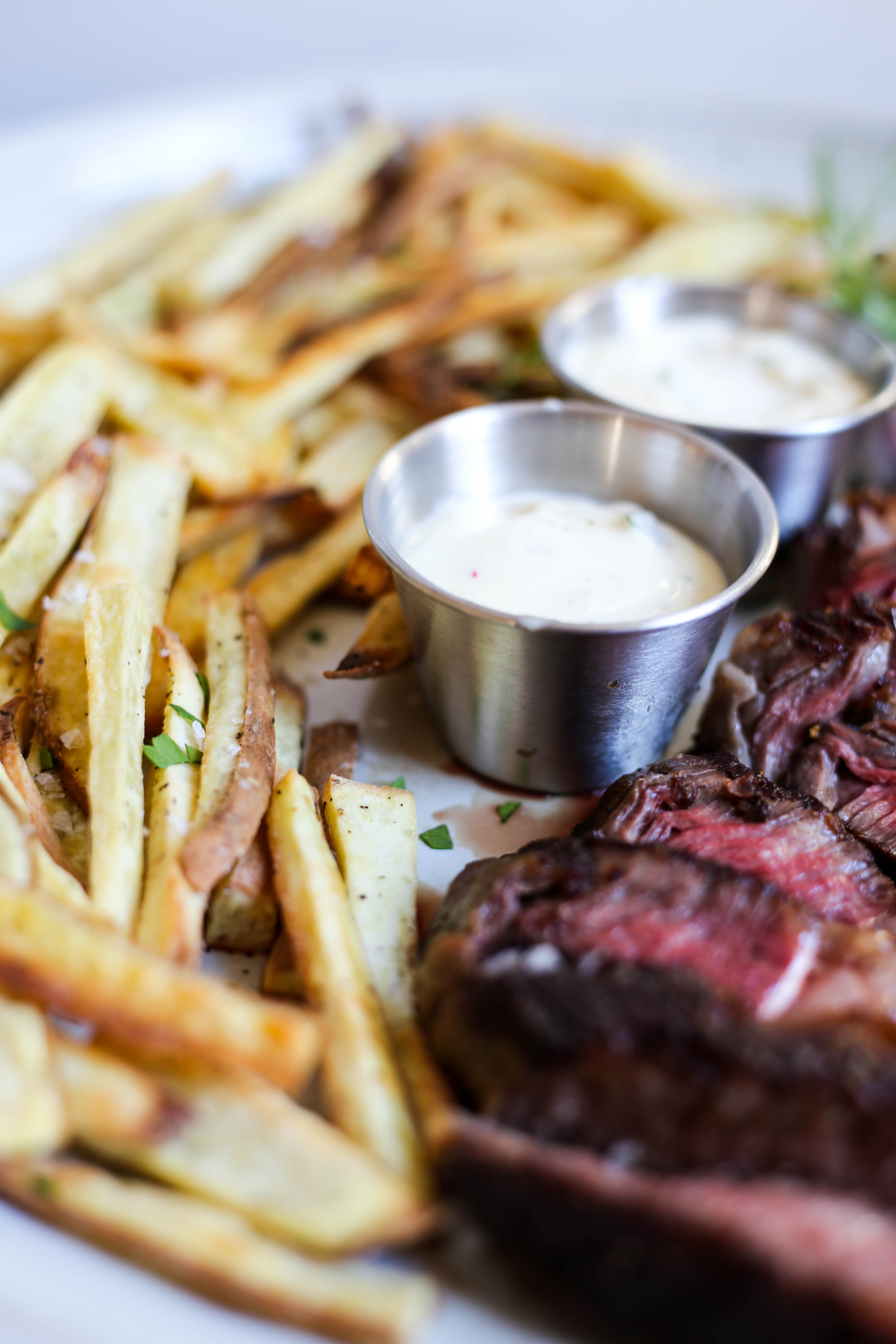 Steak Frites With Green Olive Pesto Recipe images