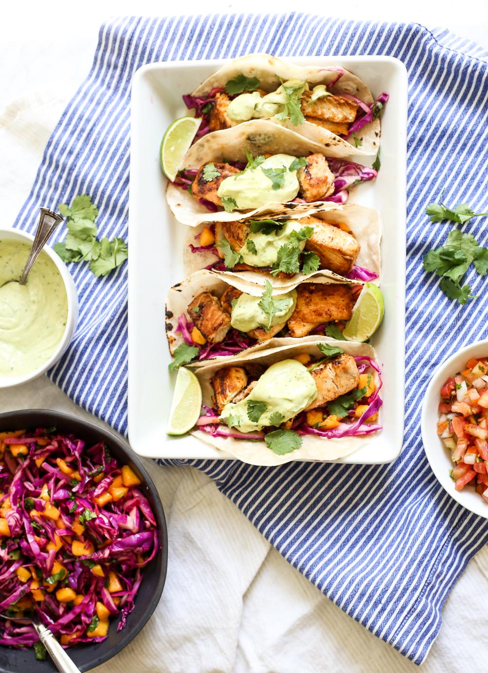 Baja Fish Tacos with Mango Coleslaw and Avocado Crema