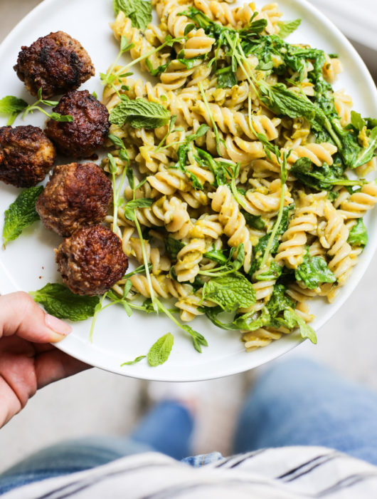 Lamb Meatballs with Mint and Pea Pesto Pasta