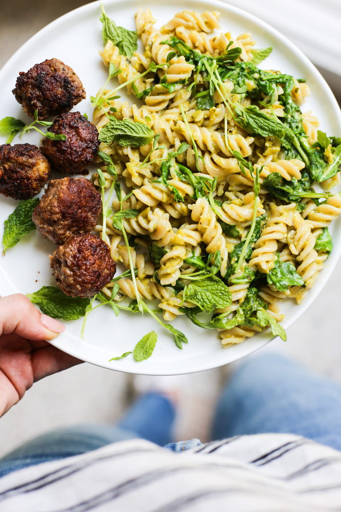 Lamb Meatballs with Mint and Pea Pesto Pasta