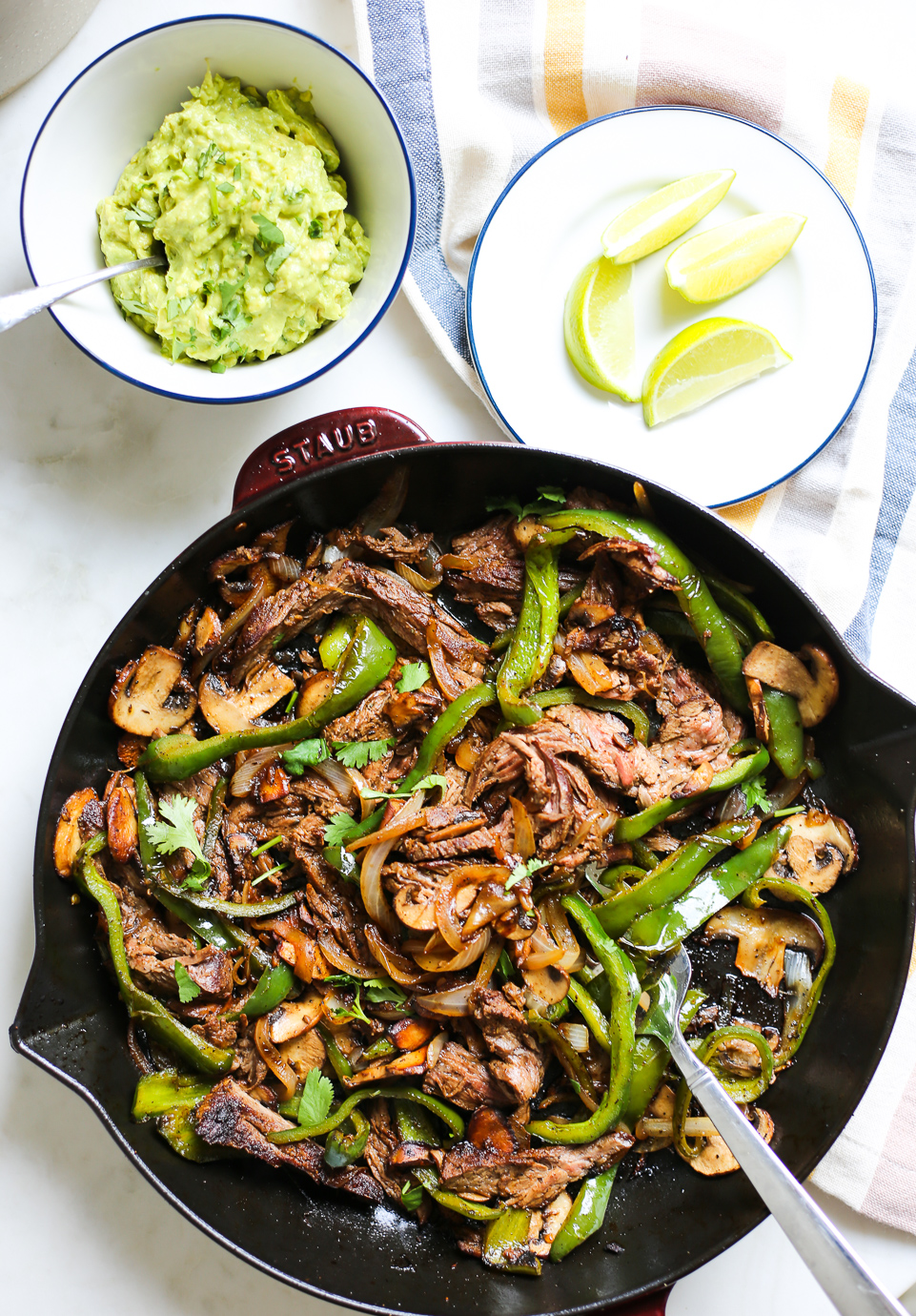 Steak, Poblano, and Mushroom Fajitas
