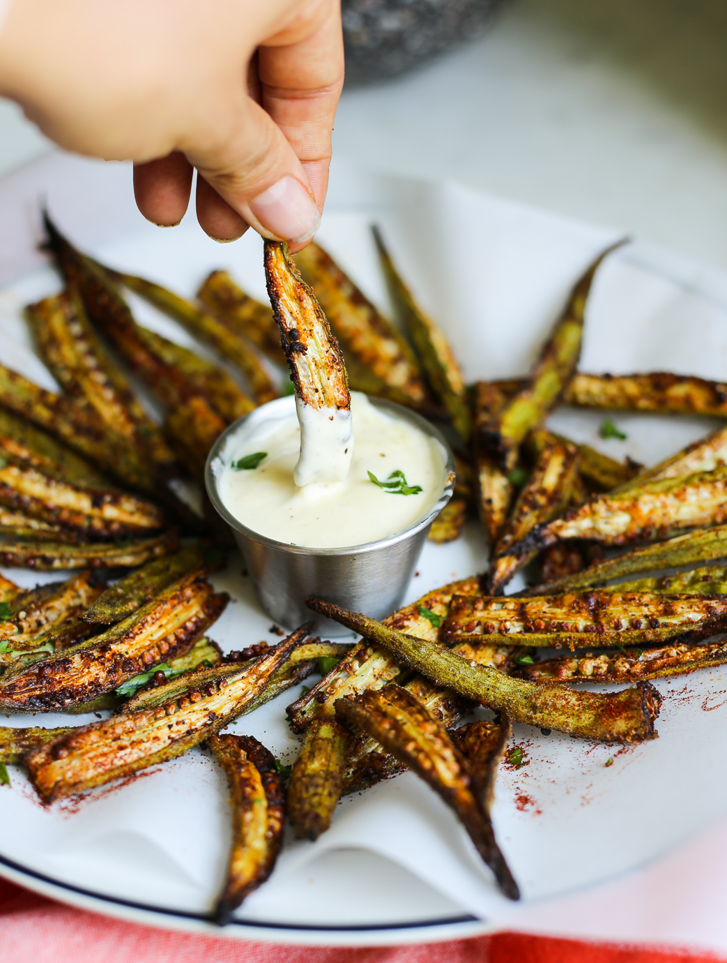 Cajun Oven-Roasted Okra Fries with Lemon-Garlic Aioli