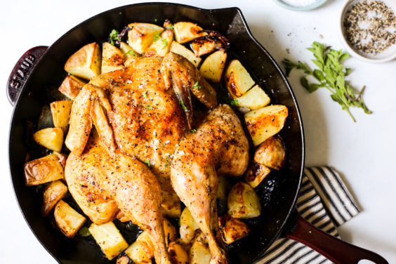 whole roasted greek chicken and potatoes