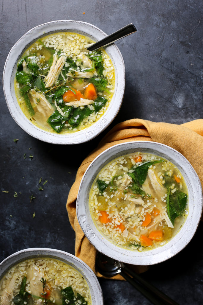 """Instant Pot Chicken and """"Rice"""" Soup"""