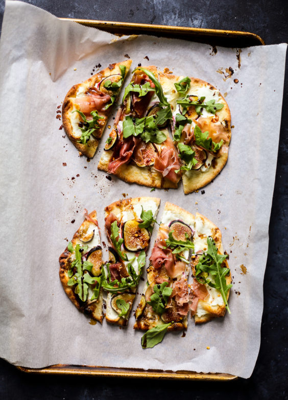 Easy Goat Cheese, Prosciutto and Fig Flatbreads