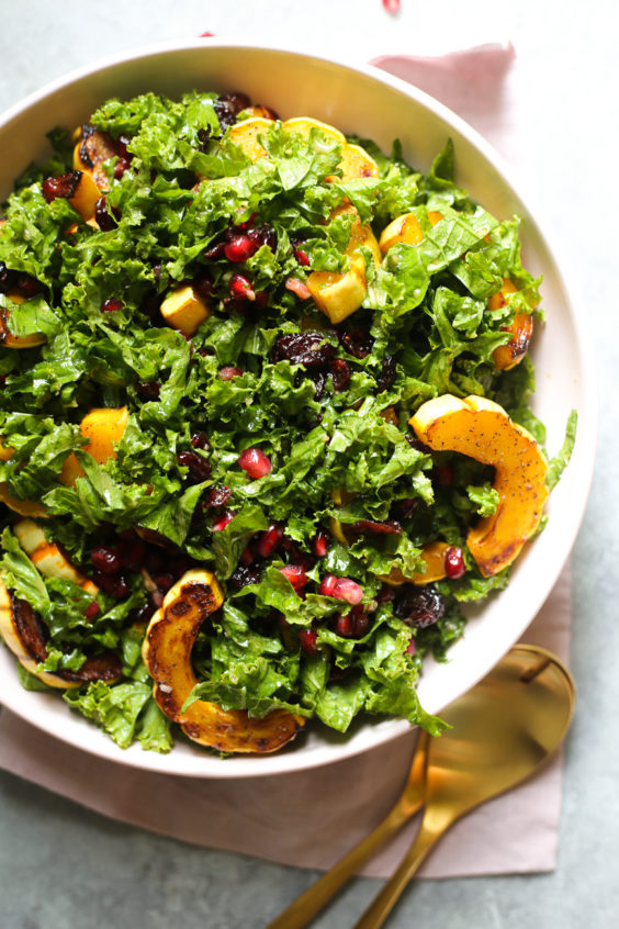 Kale Salad with Roasted Delicata Squash and Miso Dressing