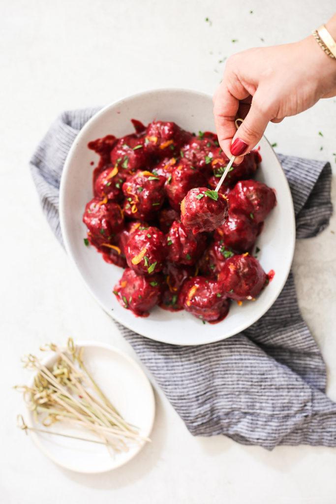 Crockpot Cranberry-Orange Meatballs