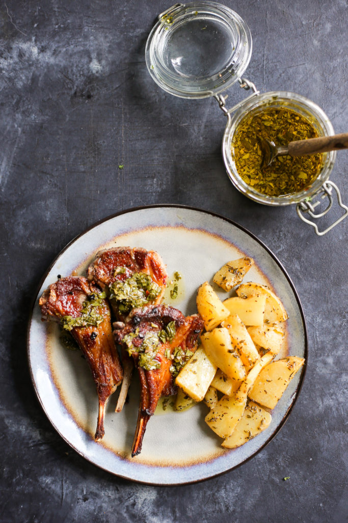 Easy Pan-Seared Lamb Chops with Mint Chimichurri