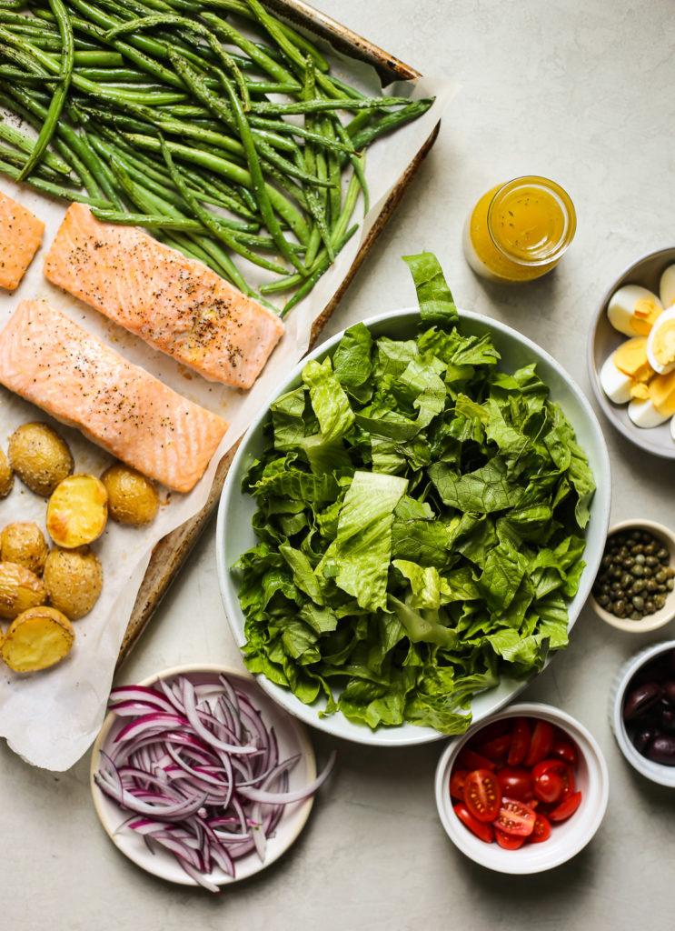 Sheet Pan Salmon Nicoise Salad