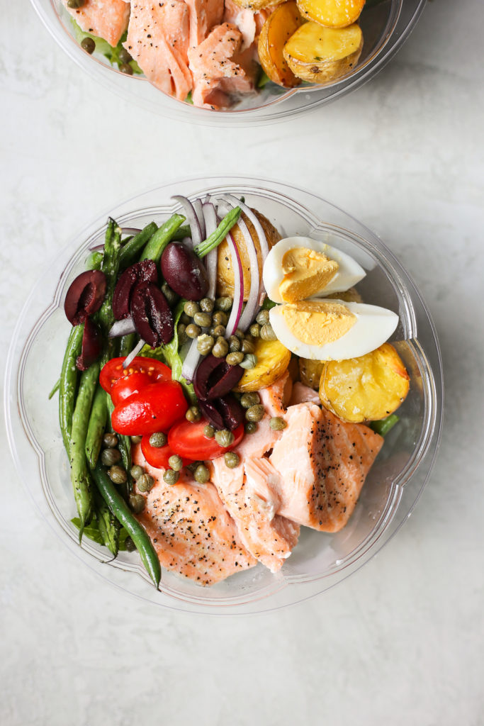 sheet pan salmon nicoise salad