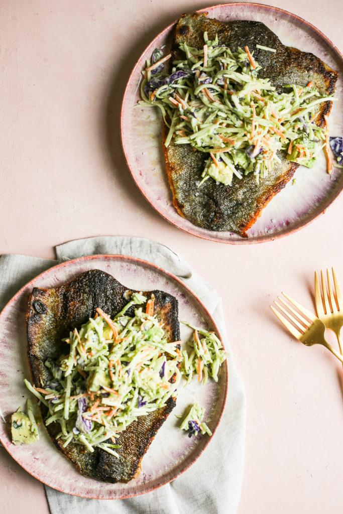 Crispy Trout with Green Goddess Broccoli Slaw