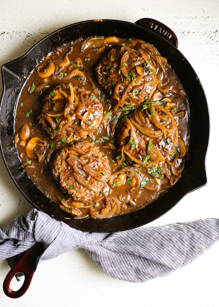 Southern-Style Hamburger Steaks with Onion and Mushroom Gravy