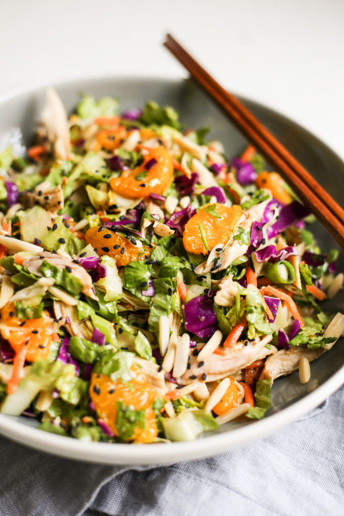 chopped asian-inspired chicken salad with 'peanut dressing'