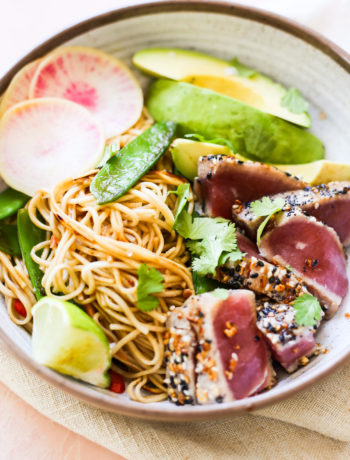seared tuna and soba noodle stir fry bowls