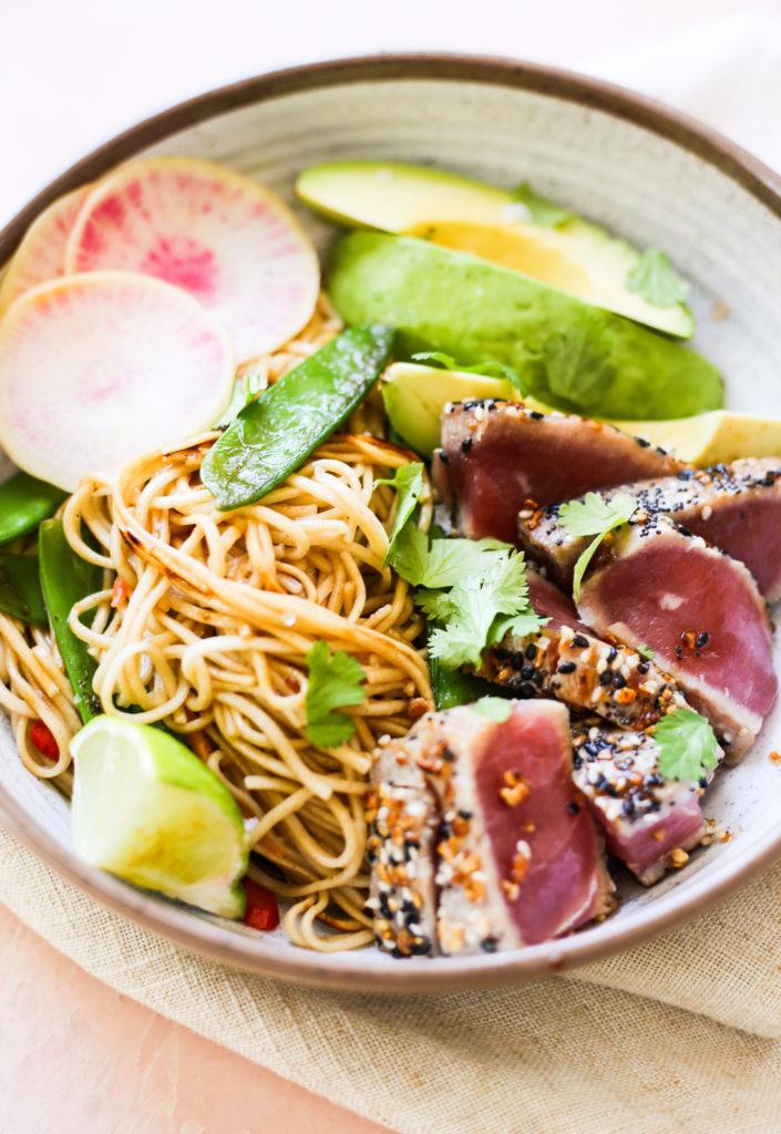 Seared Tuna and Soba Noodle Stir Fry Bowls
