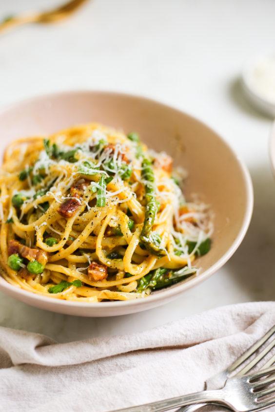 spring spaghetti carbonara