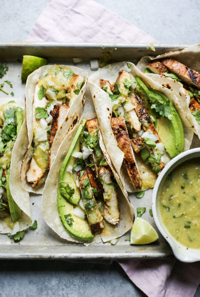 grilled chili chicken tacos with tomatillo salsa