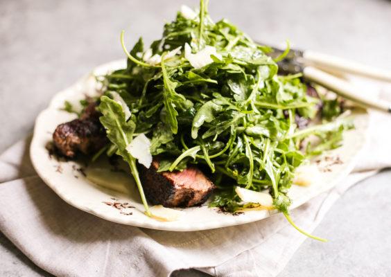 porcini rubbed ribeye with arugula salad