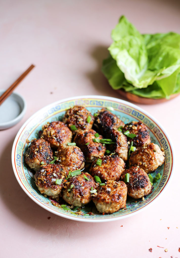 sichuan-inspired wonton meatballs in chili oil
