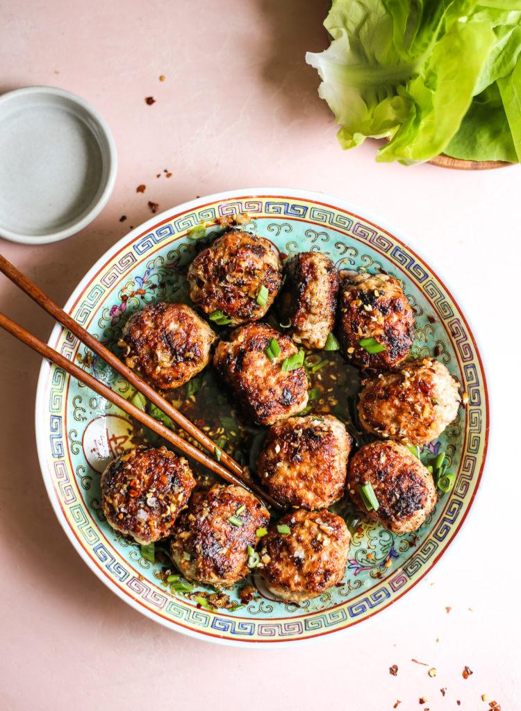 Sichuan-Inspired Wonton Meatballs