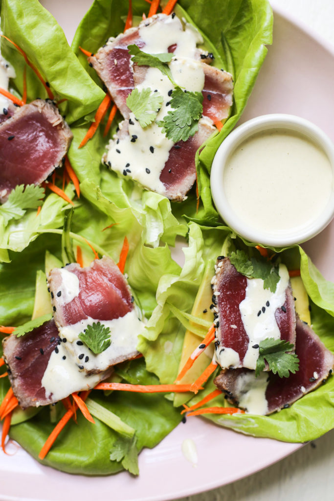 Seared Tuna Lettuce Cups