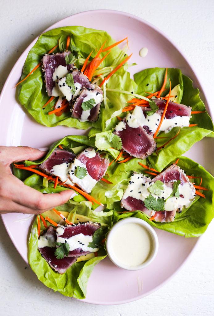 Seared Tuna Lettuce Cups