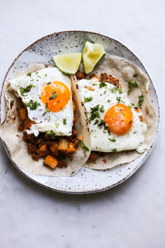 Chorizo Con Papas Breakfast Tacos