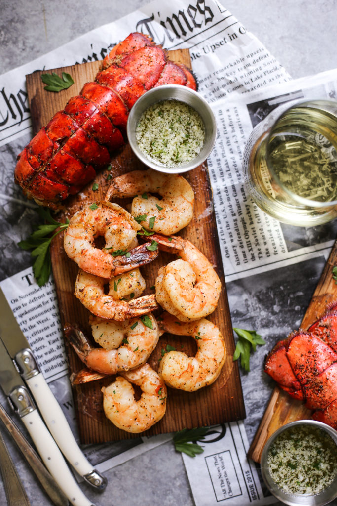Cedar Plank Lobster and Shrimp