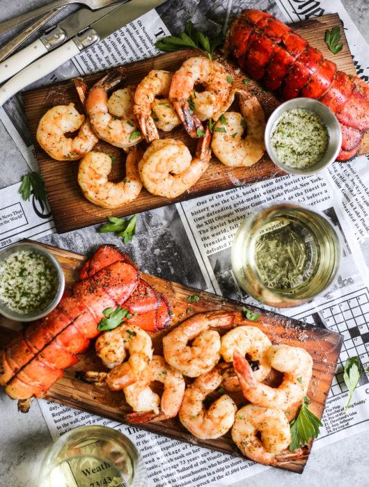 Cedar Plank Lobster and Shrimp