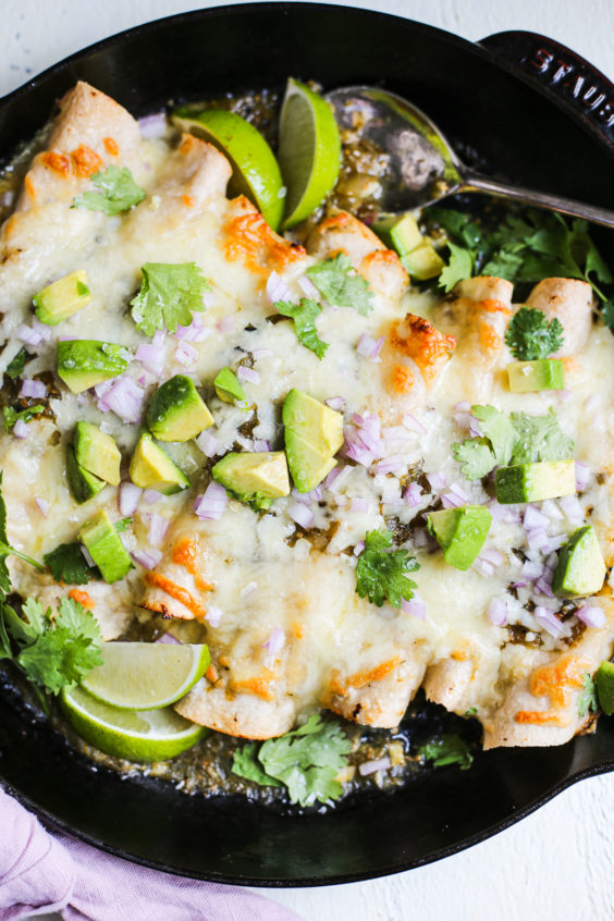 Sour Cream and Green Chile Chicken Enchiladas