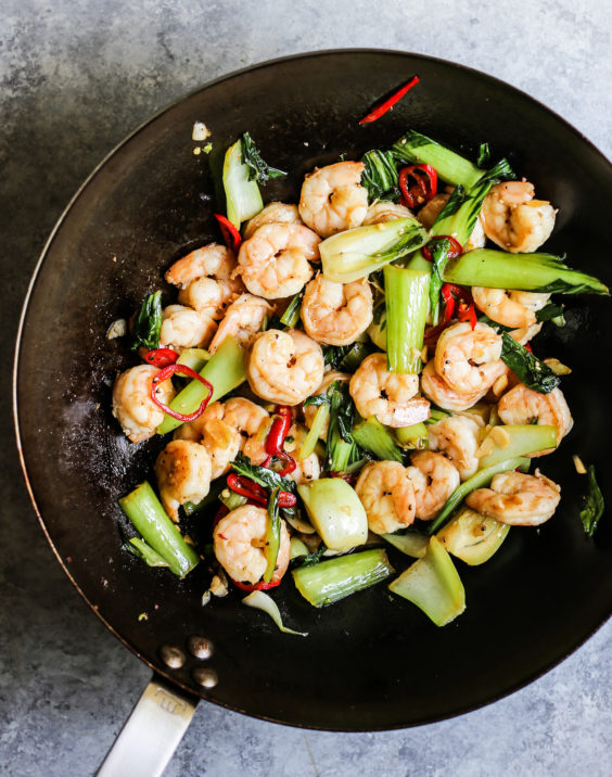 Shrimp Stir Fry with Bok Choy and Chiles