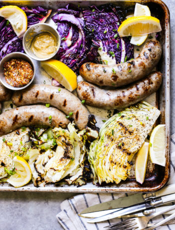 Beer Bratwursts with Onions and Grilled Cabbage