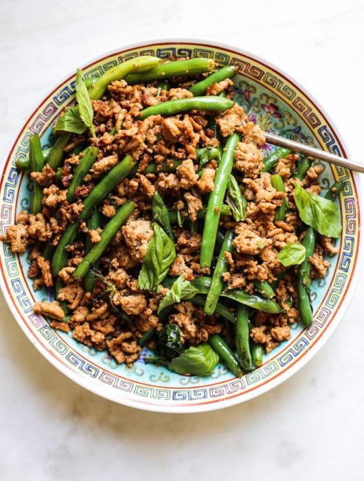 Turkey, Green Bean + Basil Stir Fry