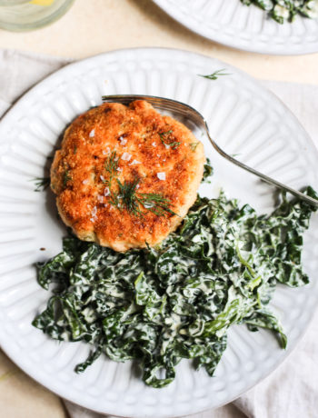 Salmon Burger Kale Caesar Salad