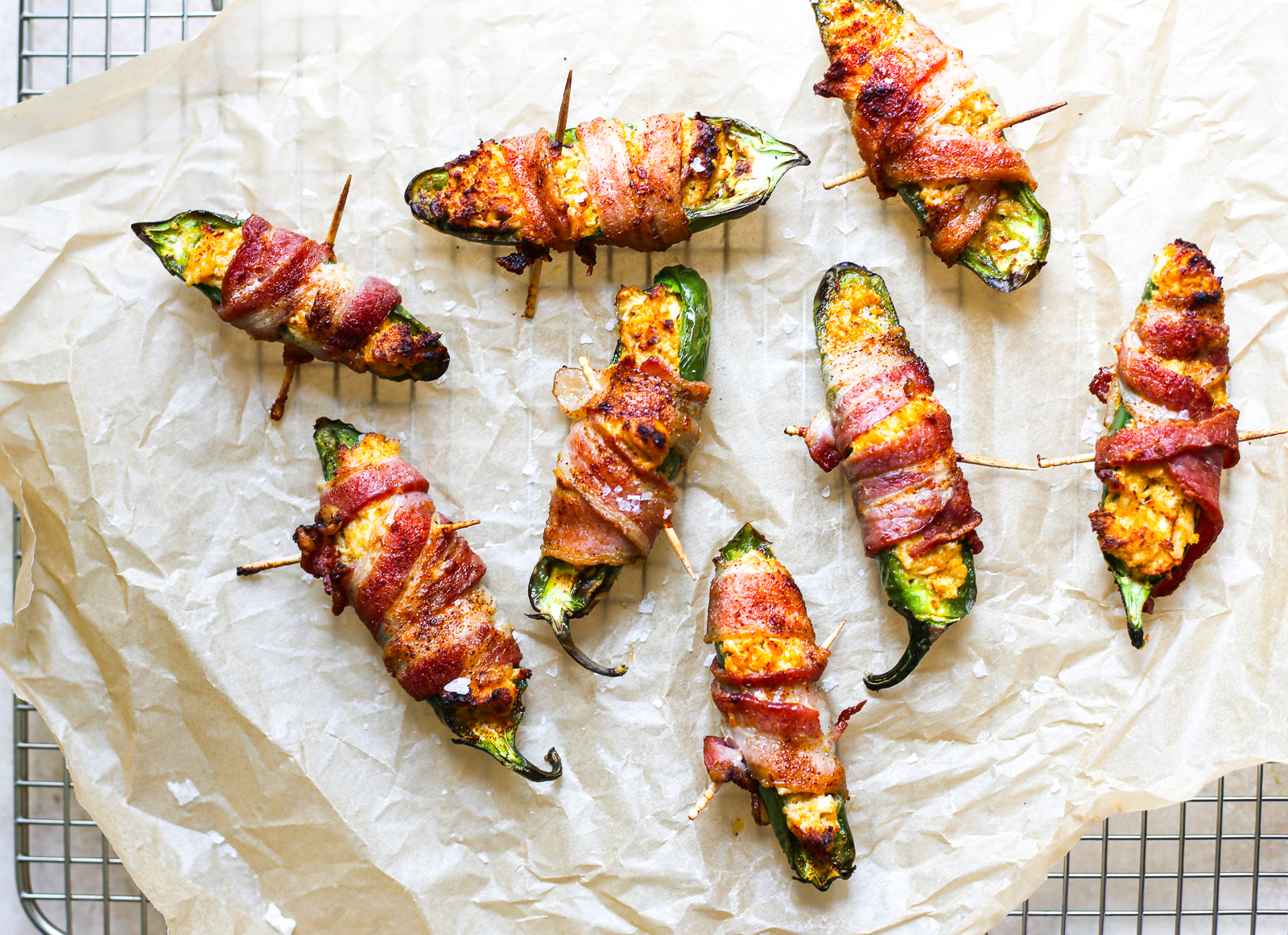 Cheesy Chicken Stuffed Bacon-Wrapped Jalapeños