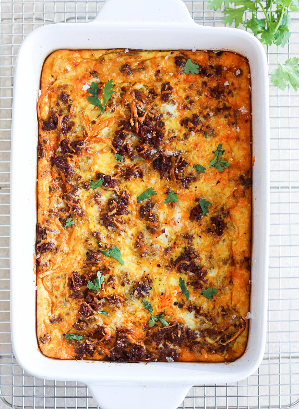 Chorizo and Spiralized Sweet Potato Breakfast Casserole