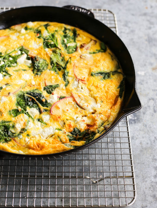 sausage, apple and goat cheese frittata