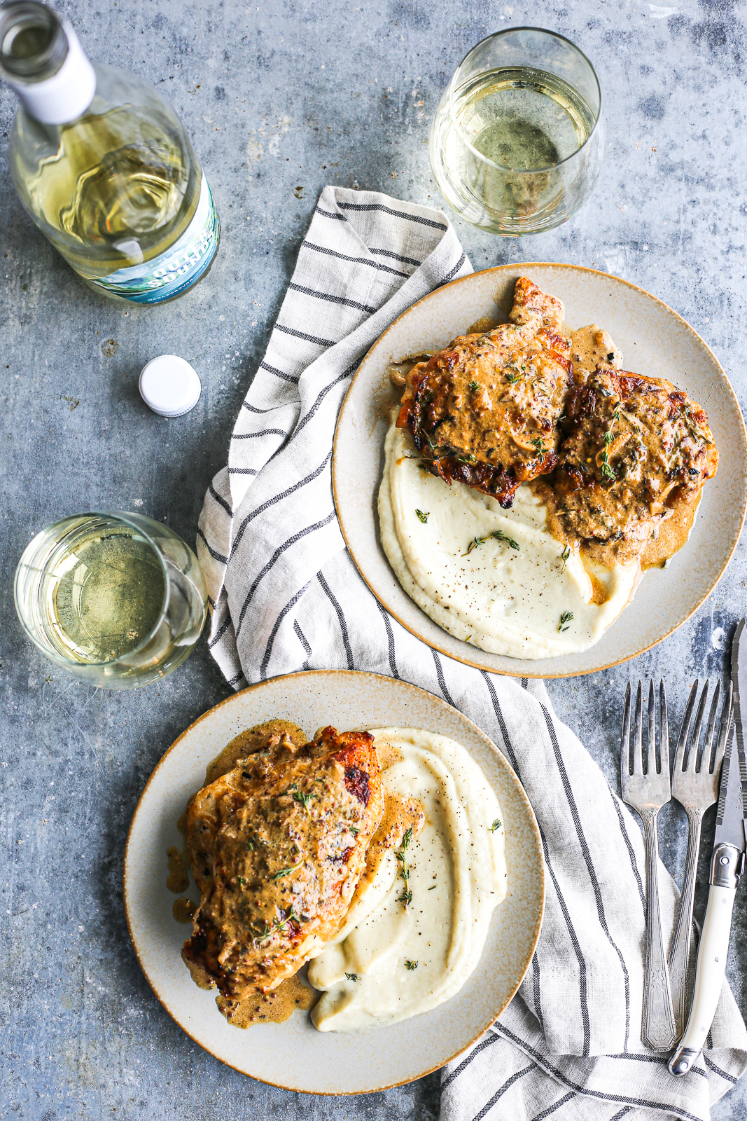 French Chicken with Creamy Mustard-White Wine Sauce