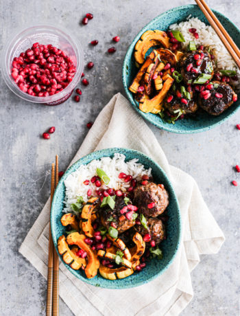Sticky Pomegranate Meatball Bowls