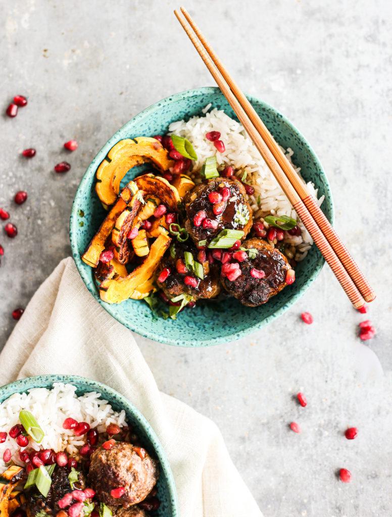 sticky pomegranate meatball bowls