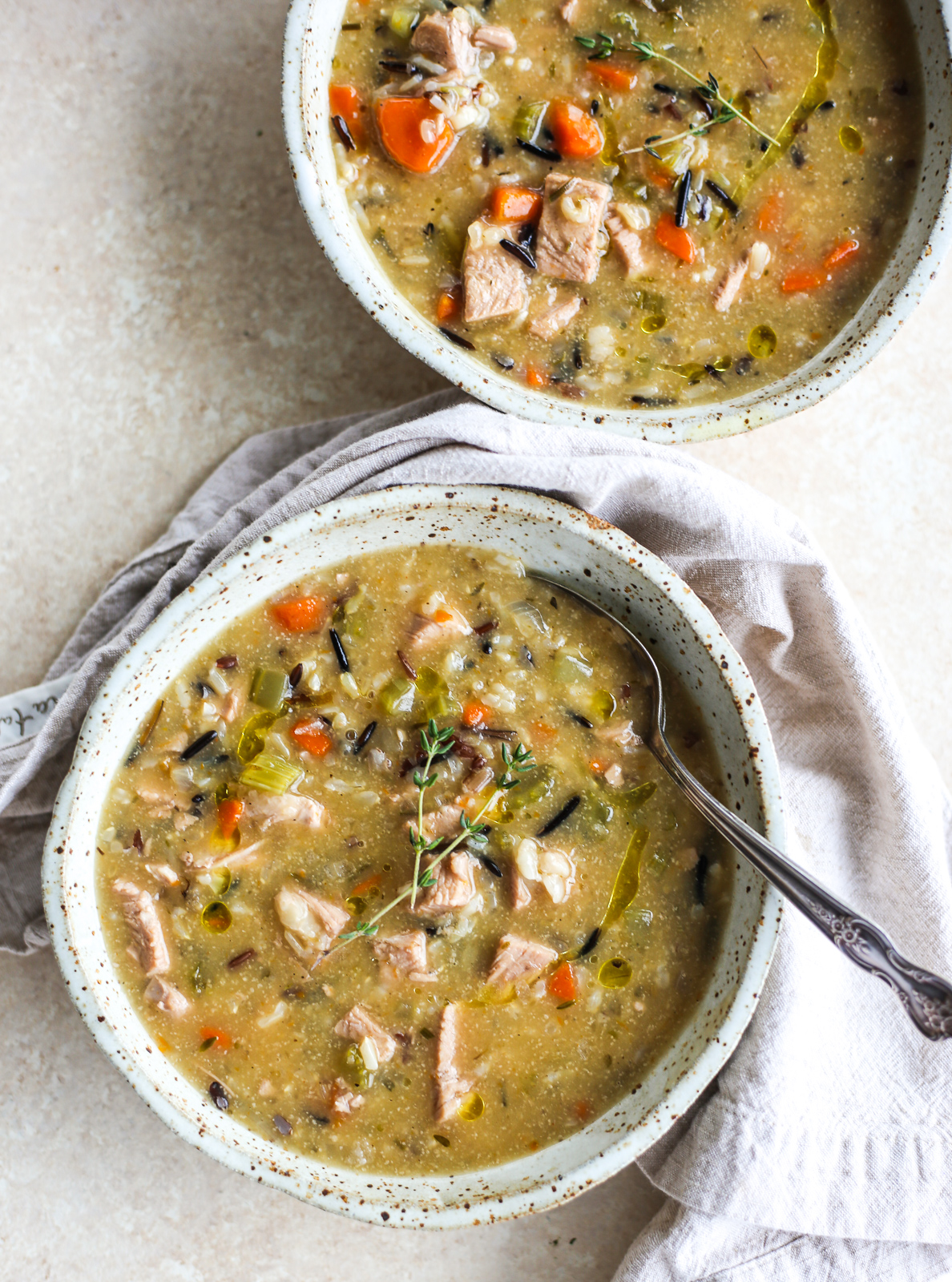 Dairy-Free Creamy Chicken + Wild Rice Soup