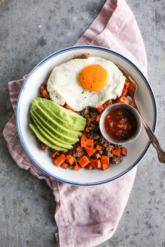 Sweet Potato and Bison Breakfast Hash