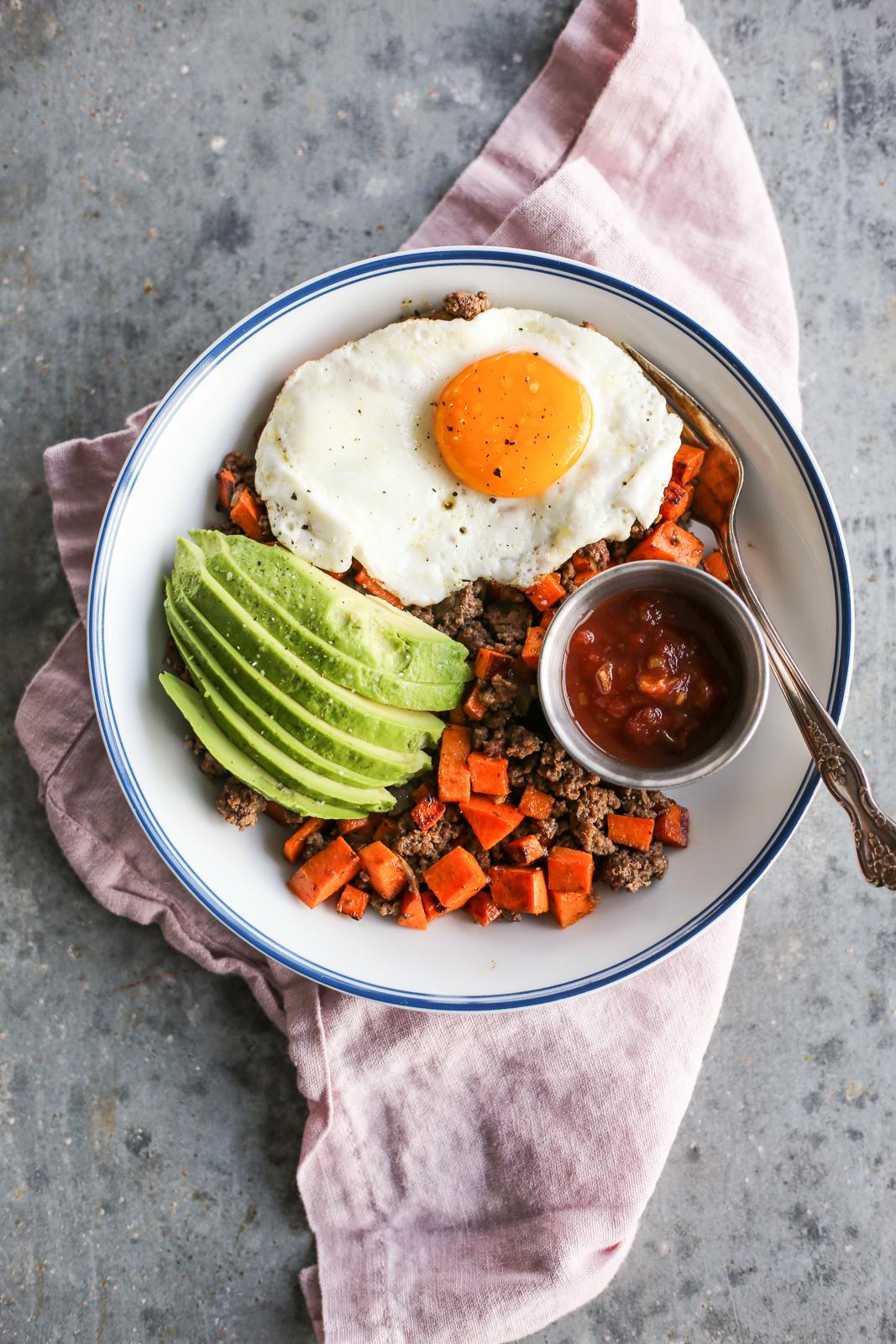Sweet Potato and Bison Breakfast Hash
