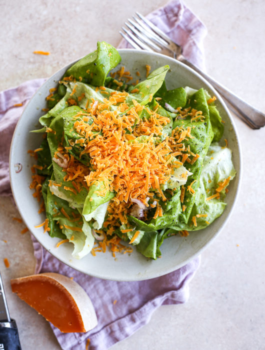Bibb Salad with Black Truffle Vinaigrette + Mimolette