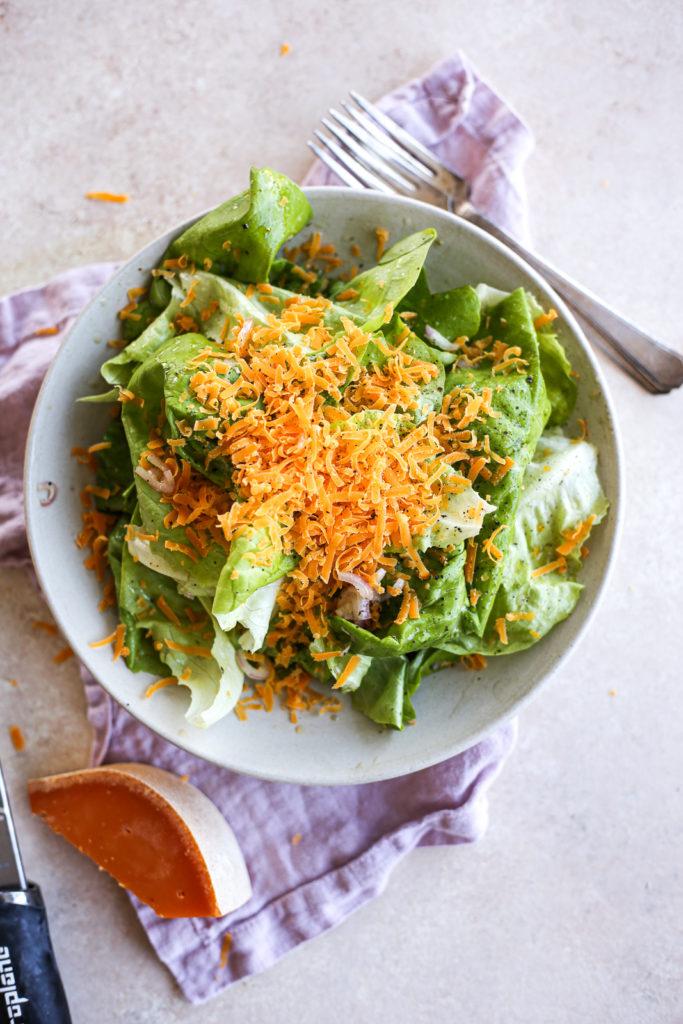 Bibb Salad with Black Truffle Vinaigrette + Mimolette