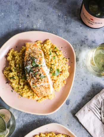 Israeli Couscous Milanese with Seared Halibut