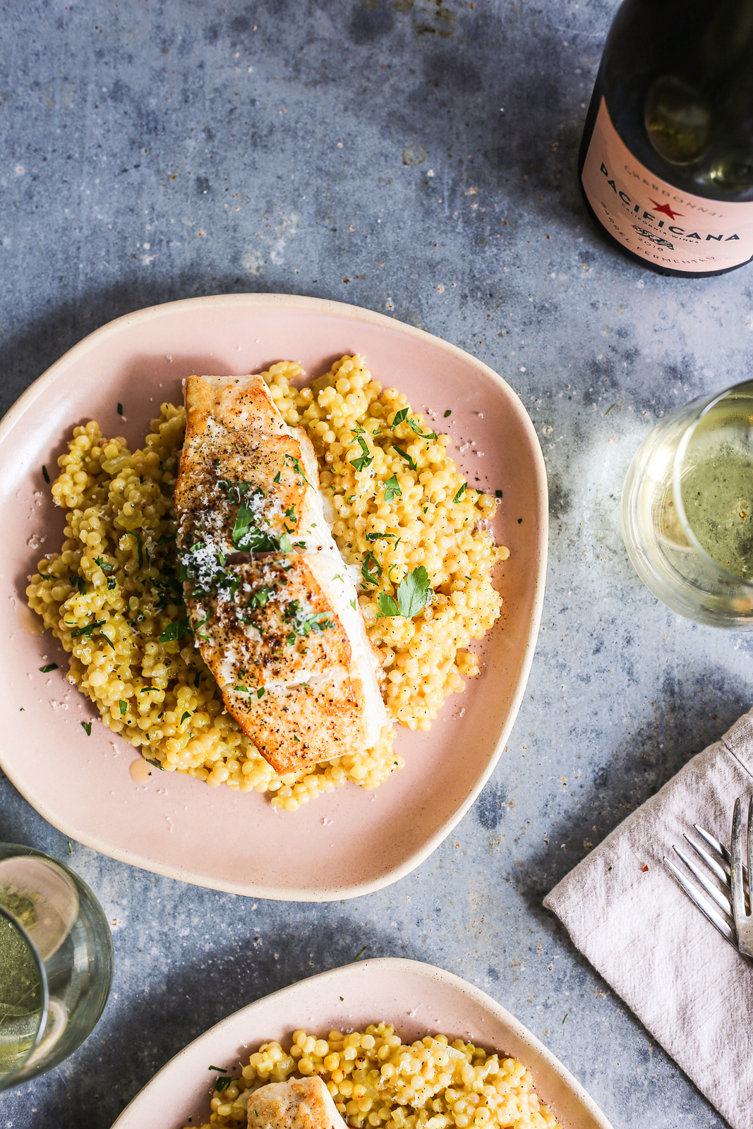 Israeli Couscous Milanese Seared Halibut The Defined Dish