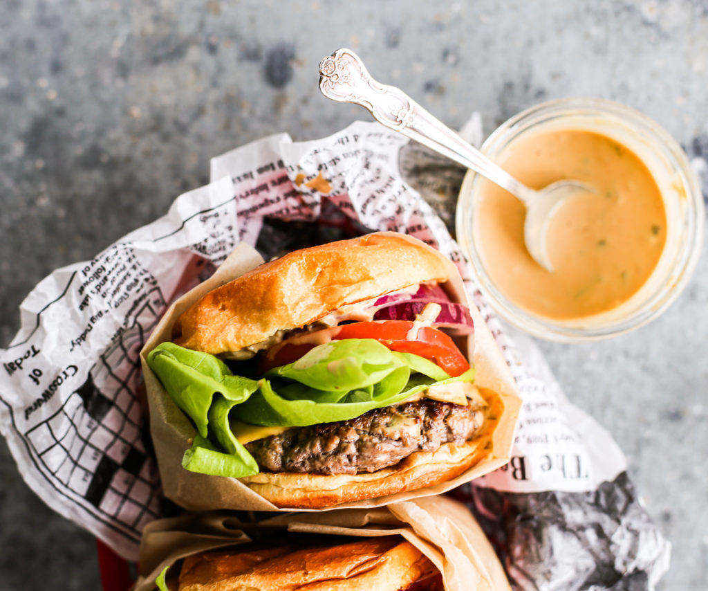 juicy indoor burgers with burger sauce
