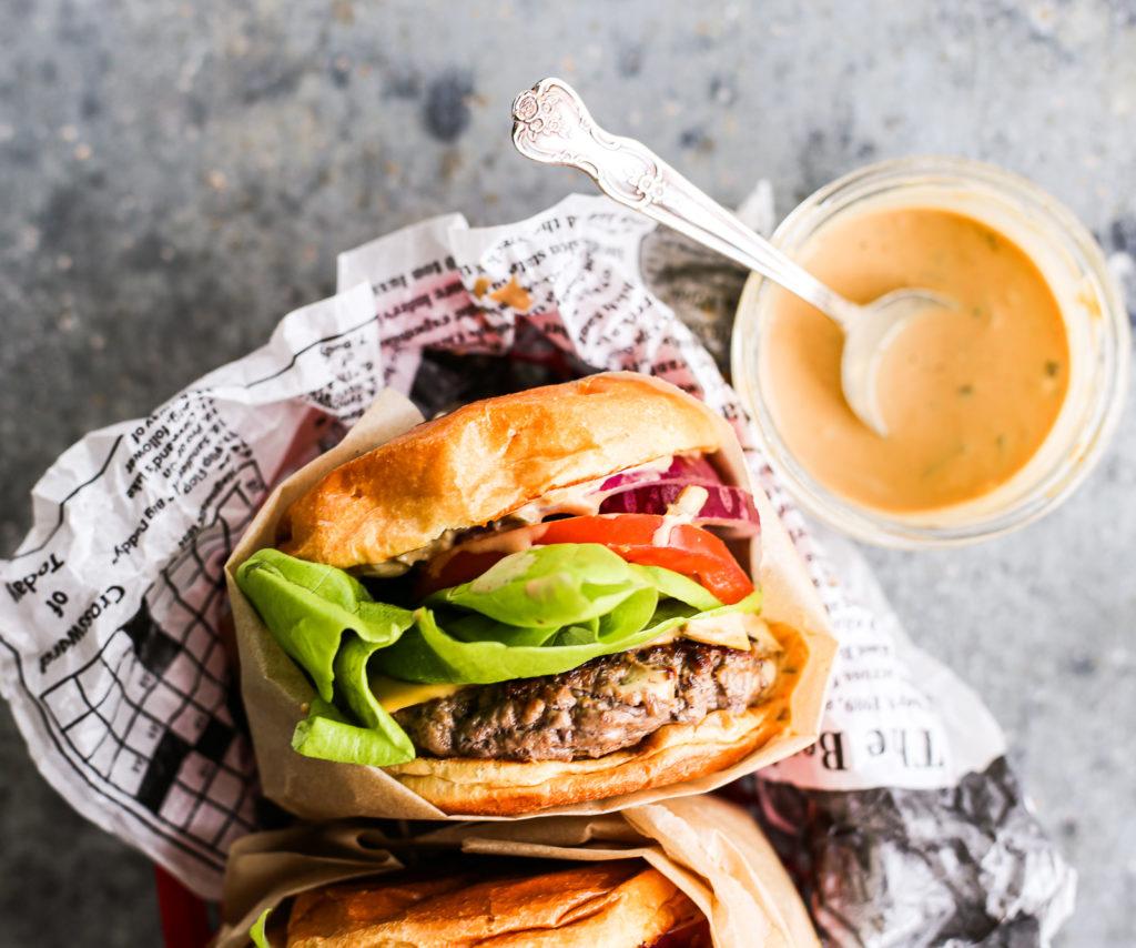 juicy indoor burgers with burger sauce