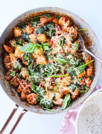 Easy Sausage Cauliflower Gnocchi Skillet